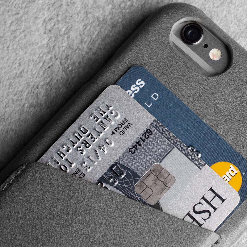 Mujjo Leather Wallet Case iPhone 6 Grey - 5