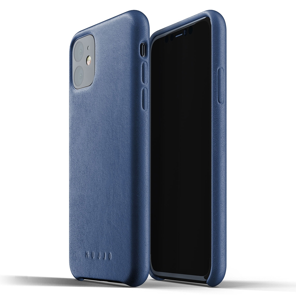 Mujjo Premium Full Leder iPhone XR 2 Cover Blauw