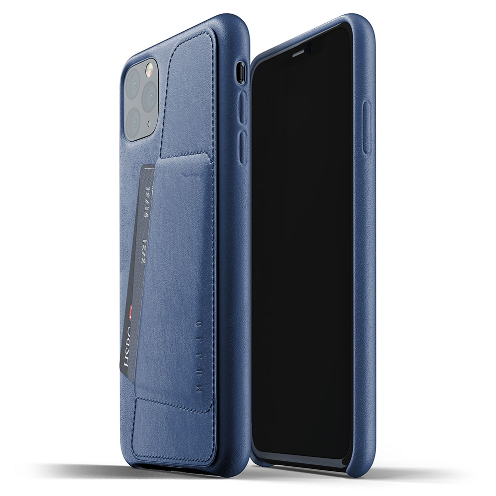 Mujjo Full Leder iPhone XI Max Wallet Cover Blauw