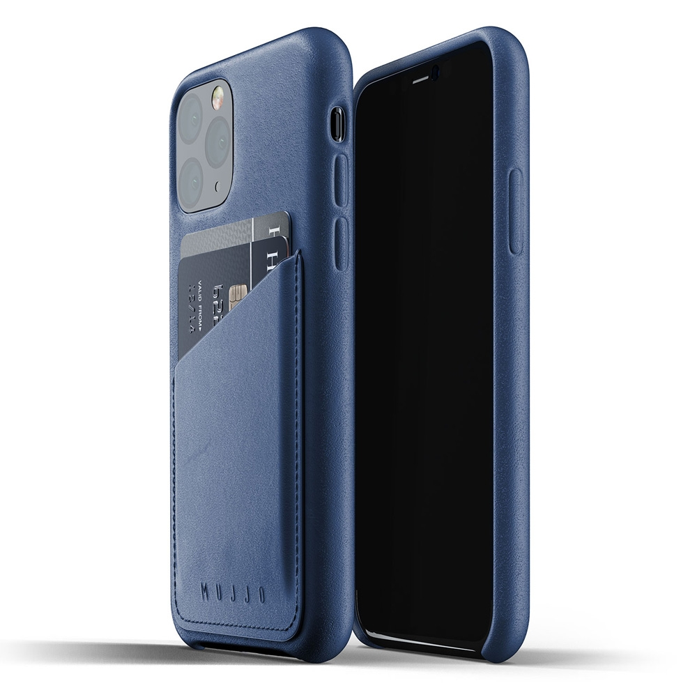 Mujjo Full Leder iPhone XI Wallet Cover Blauw